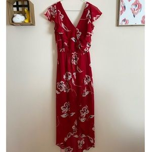 Maurices Red Floral High Low Flutter Sleeves Dress